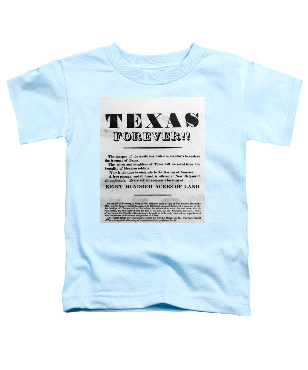 1836 Toddler T-Shirt featuring the painting Texas Broadside, 1836 by Granger