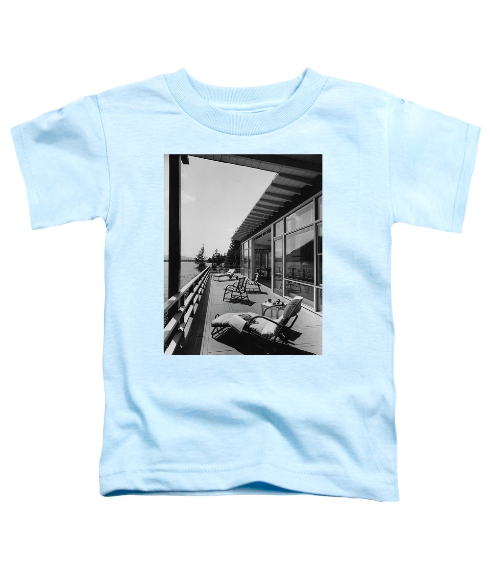 Architecture Toddler T-Shirt featuring the photograph The Alfred Rose Lake Placid Summer Home by Robert M. Damora