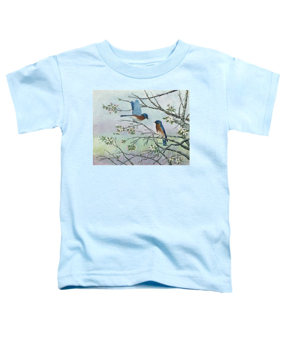 Bluebirds; Trees; Wildlife Toddler T-Shirt featuring the painting The Gift by Ben Kiger