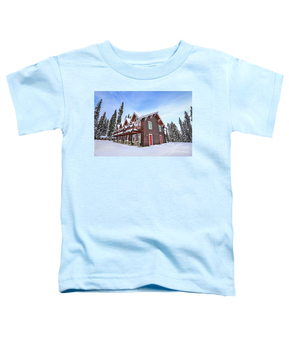 Lake Louise Toddler T-Shirt featuring the photograph The Glory Of Winter's Chill by Evelina Kremsdorf