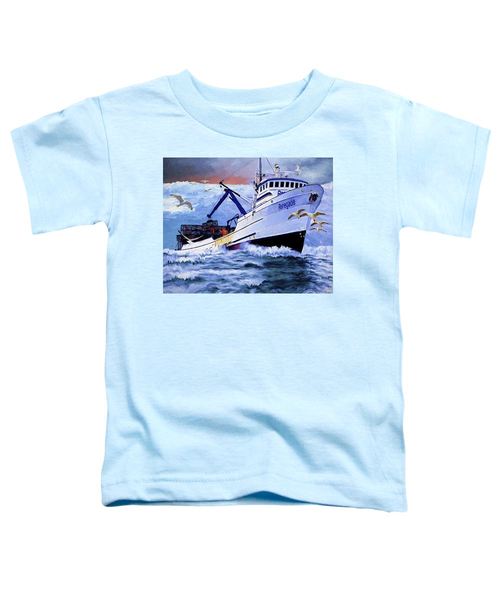 Alaskan King Crabber Toddler T-Shirt featuring the painting Time To Go Home by David Wagner