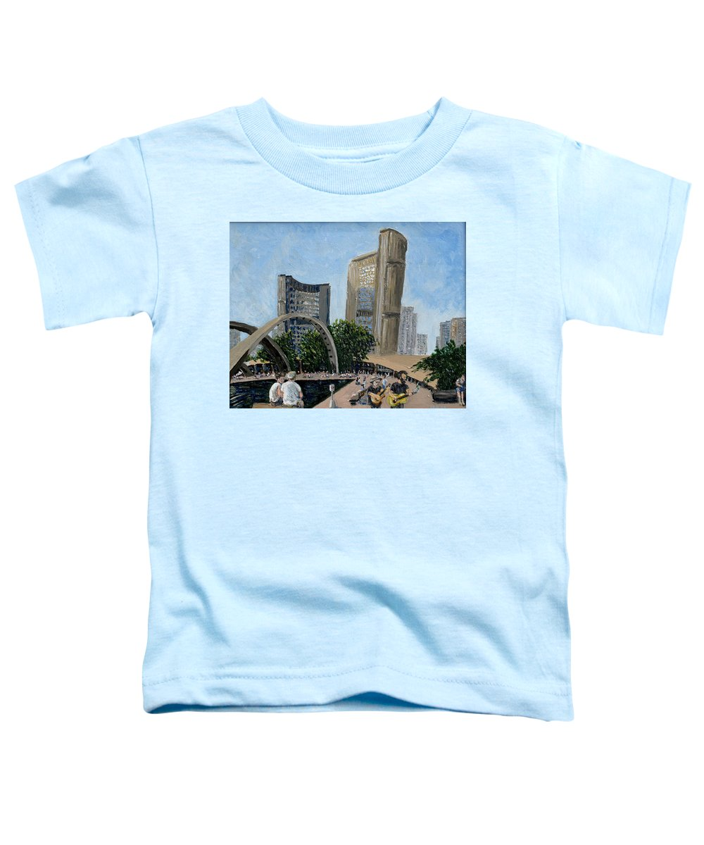 Toronto Toddler T-Shirt featuring the painting Toronto City Hall by Ian MacDonald
