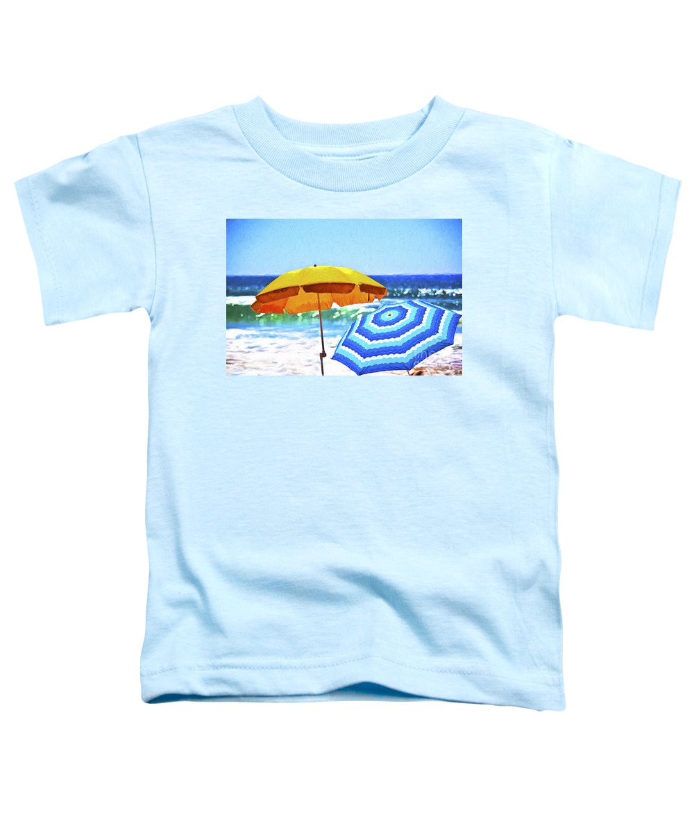Umbrellas Toddler T-Shirt featuring the photograph Umbrellas At The Beach by Sheila Smart Fine Art Photography