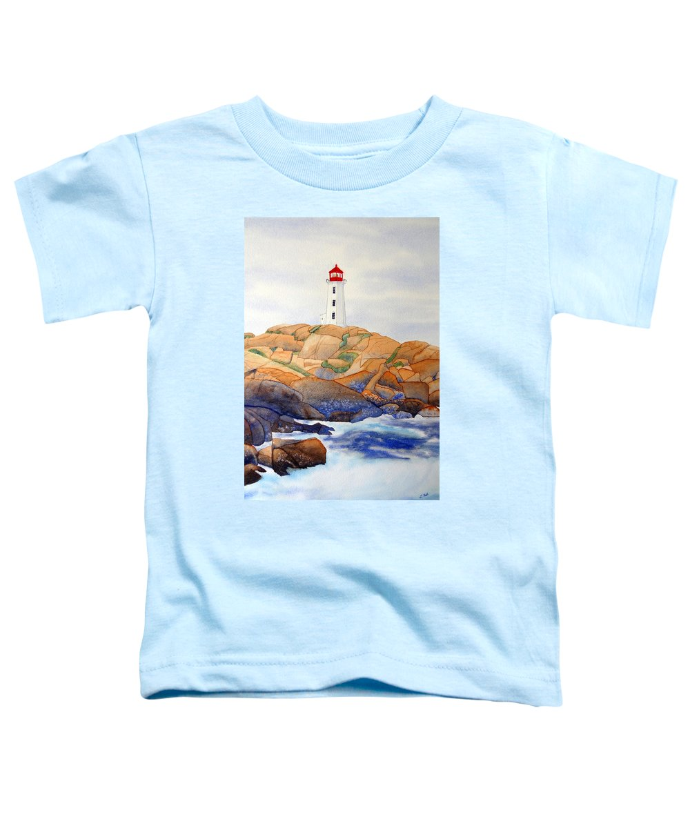 Peggy's Cove Toddler T-Shirt featuring the painting Peggy's Cove by Laurel Best
