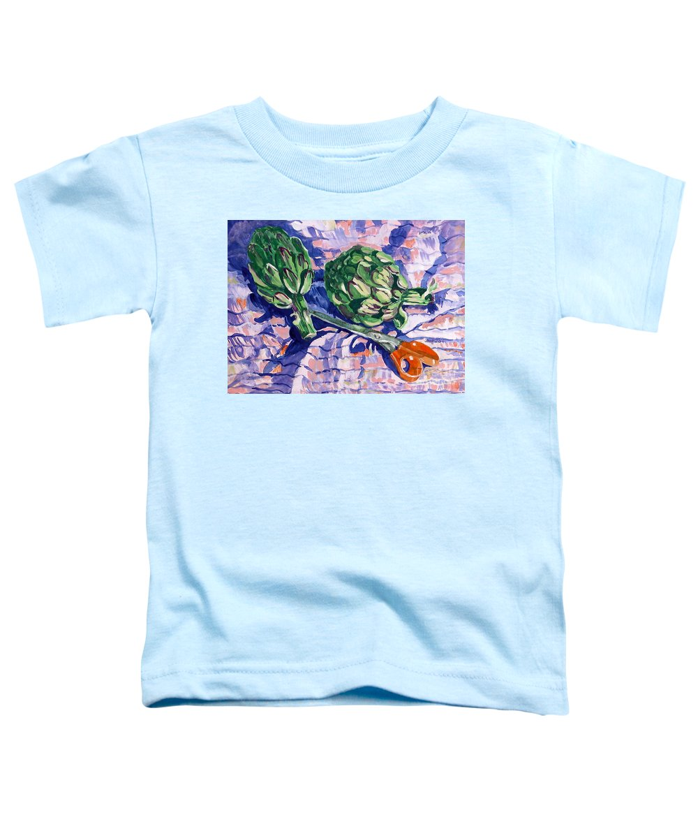 Greens Toddler T-Shirt featuring the painting Edible Flowers by Jan Bennicoff