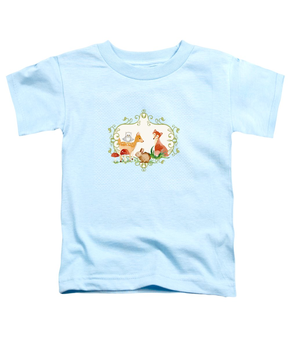 Woodland Toddler T-Shirt featuring the painting Woodland Fairytale - Animals Deer Owl Fox Bunny N Mushrooms by Audrey Jeanne Roberts