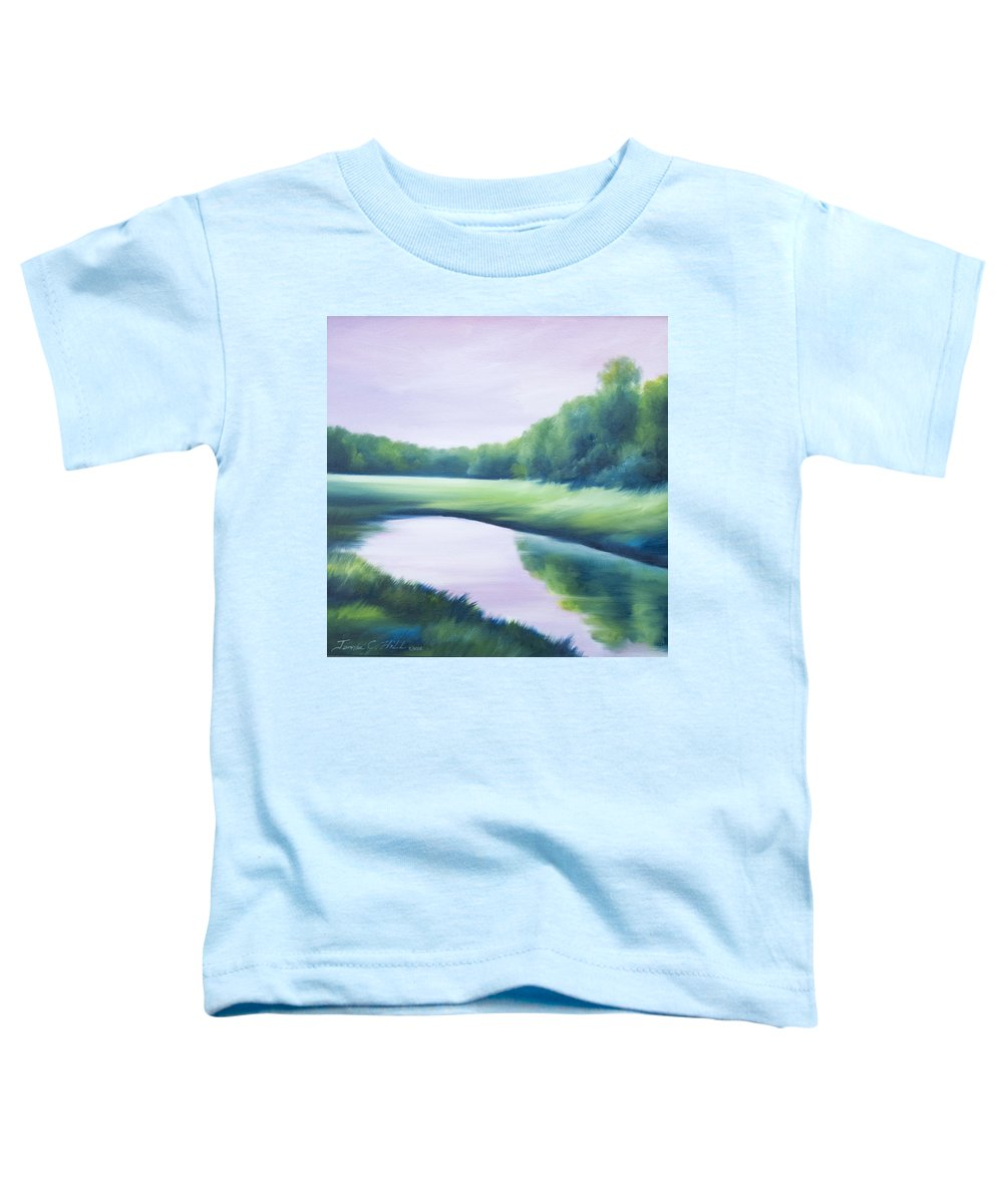 Nature; Lake; Sunset; Sunrise; Serene; Forest; Trees; Water; Ripples; Clearing; Lagoon; James Christopher Hill; Jameshillgallery.com; Foliage; Sky; Realism; Oils; Green; Tree; Blue; Pink; Pond; Lake Toddler T-Shirt featuring the painting A Day In The Life 1 by James Christopher Hill