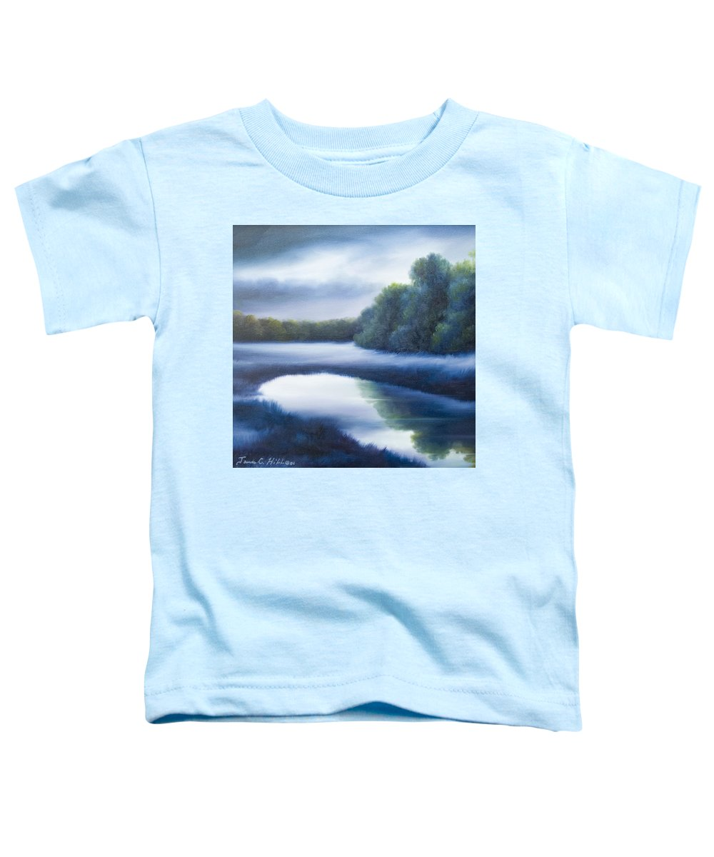 Nature; Lake; Sunset; Sunrise; Serene; Forest; Trees; Water; Ripples; Clearing; Lagoon; James Christopher Hill; Jameshillgallery.com; Foliage; Sky; Realism; Oils; Green; Tree; Blue; Pink; Pond; Lake Toddler T-Shirt featuring the painting A Day In The Life 4 by James Christopher Hill