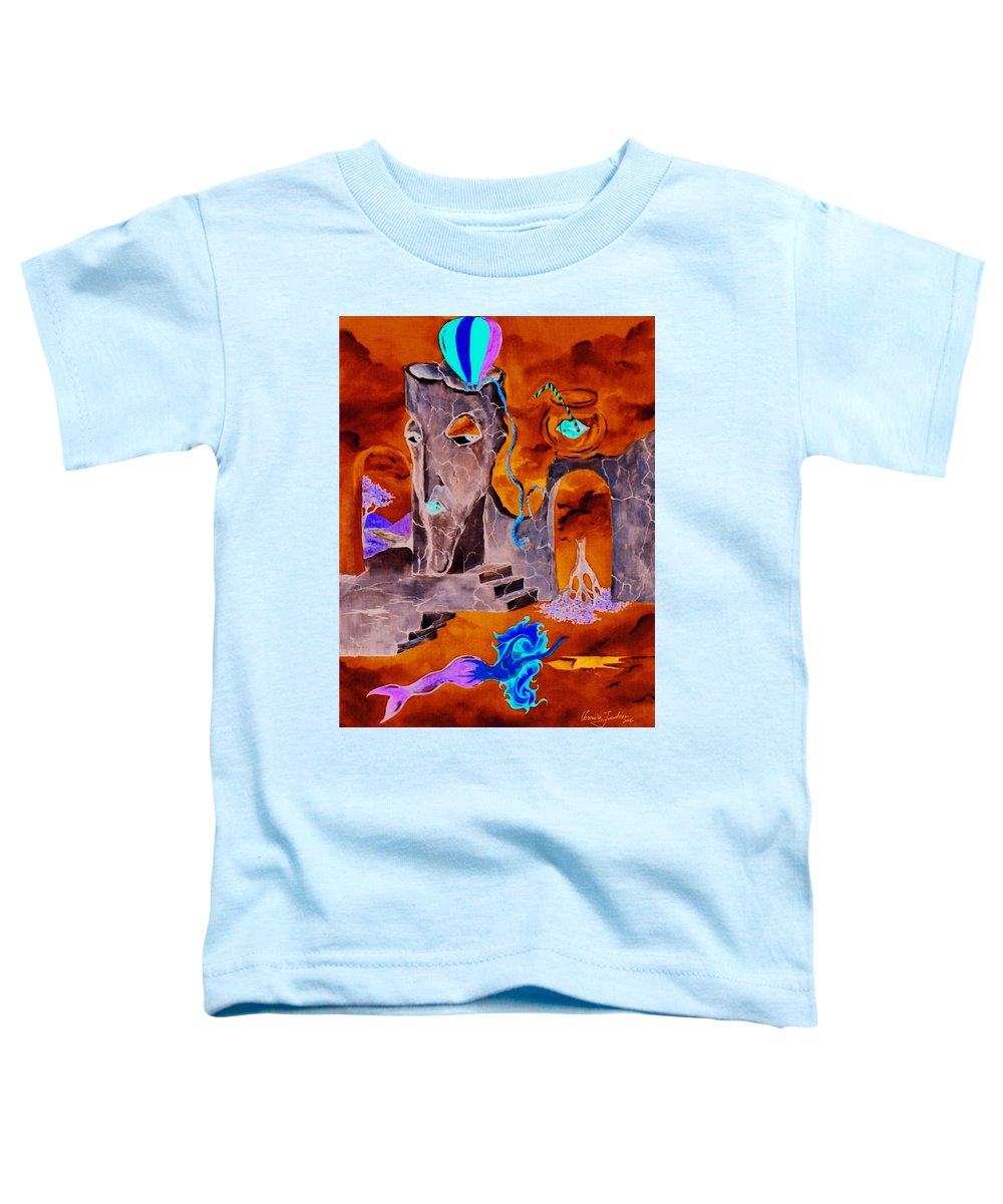 Surreal Sky Mermaids Trees Stairs Heaven Toddler T-Shirt featuring the painting A Few Seconds In My Head by Veronica Jackson