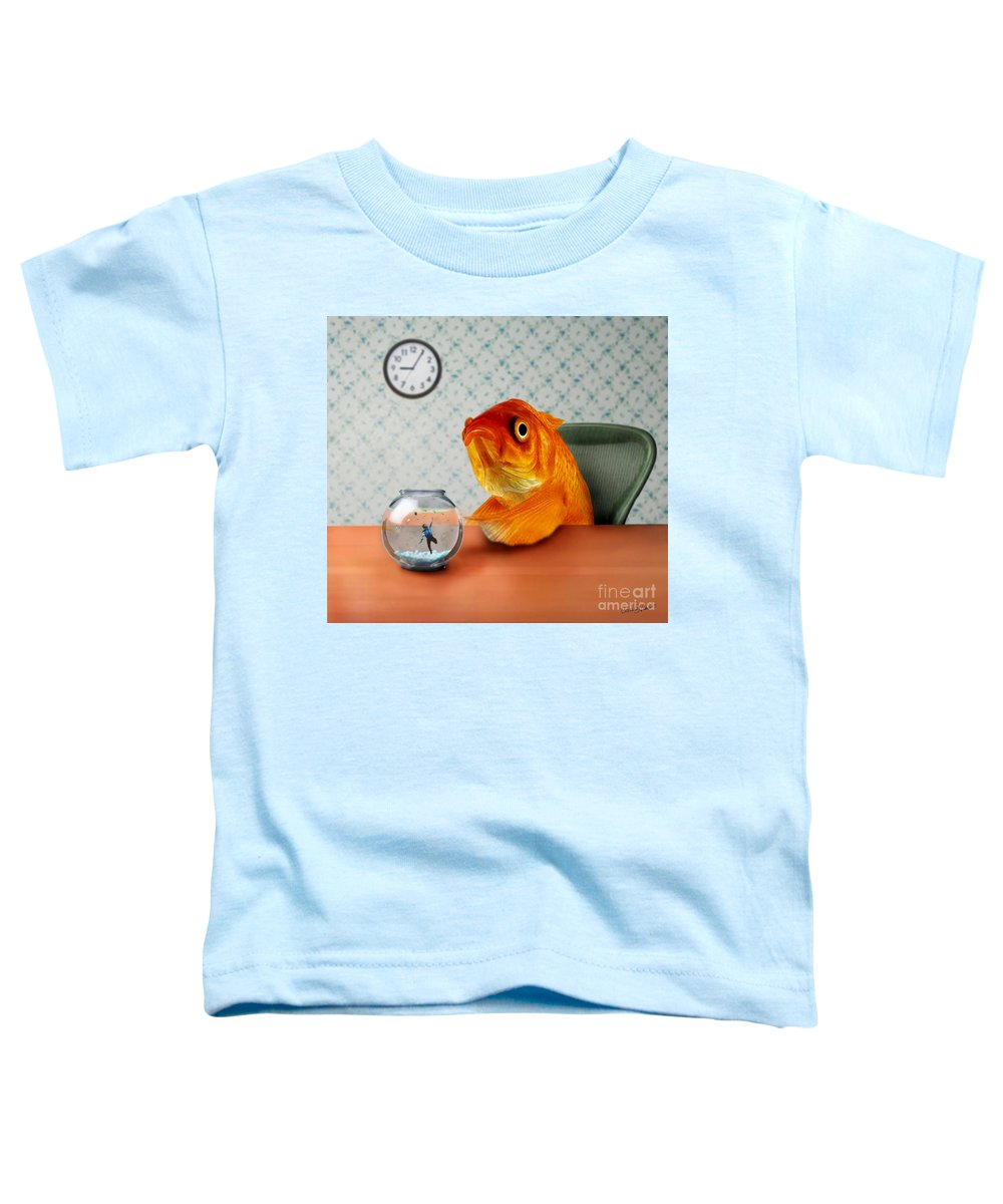 A Fish Out Of Water Toddler T-Shirt featuring the mixed media A Fish Out Of Water by Carrie Jackson