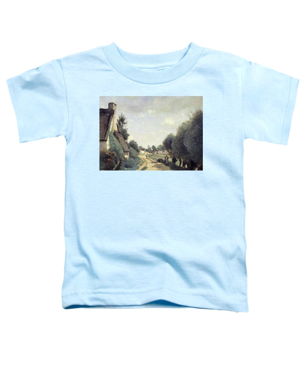 Corot Toddler T-Shirt featuring the painting A Road Near Arras by Jean Baptiste Camille Corot