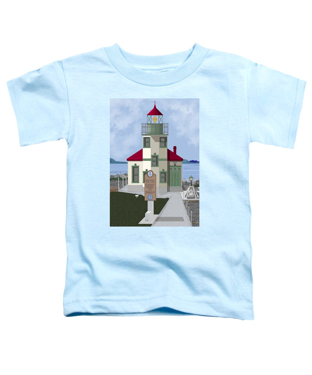 Lighthouse Toddler T-Shirt featuring the painting Alki Point On Elliott Bay by Anne Norskog