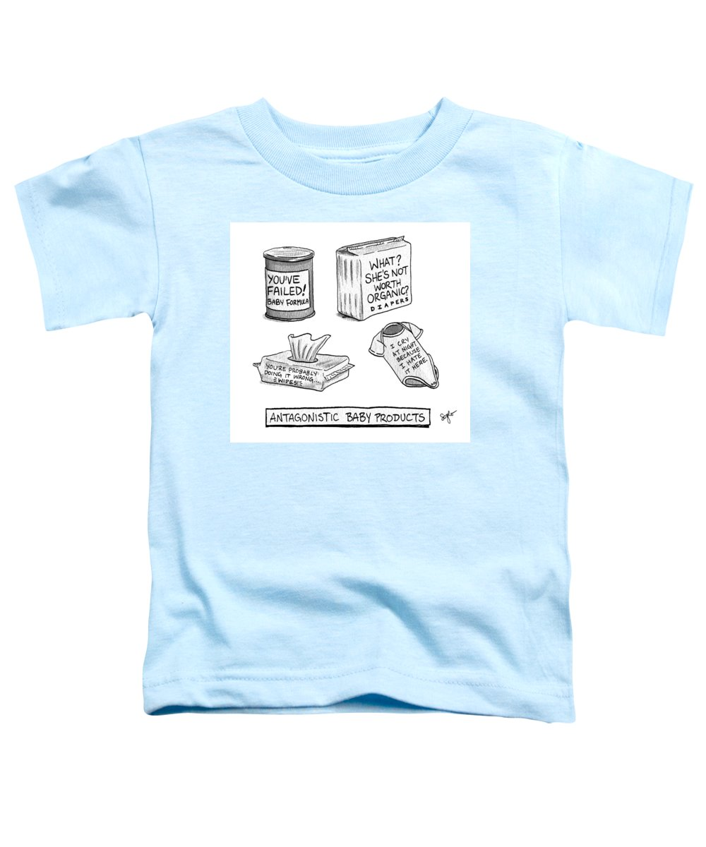 Antagonistic Baby Products Toddler T-Shirt featuring the drawing Antagonistic Baby Products by Sophia Wiedeman