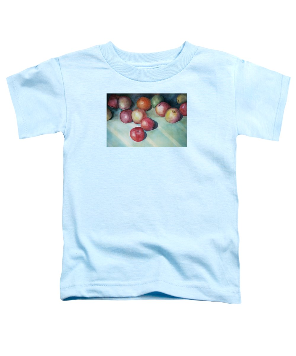 Orange Toddler T-Shirt featuring the painting Apples And Orange by Jun Jamosmos