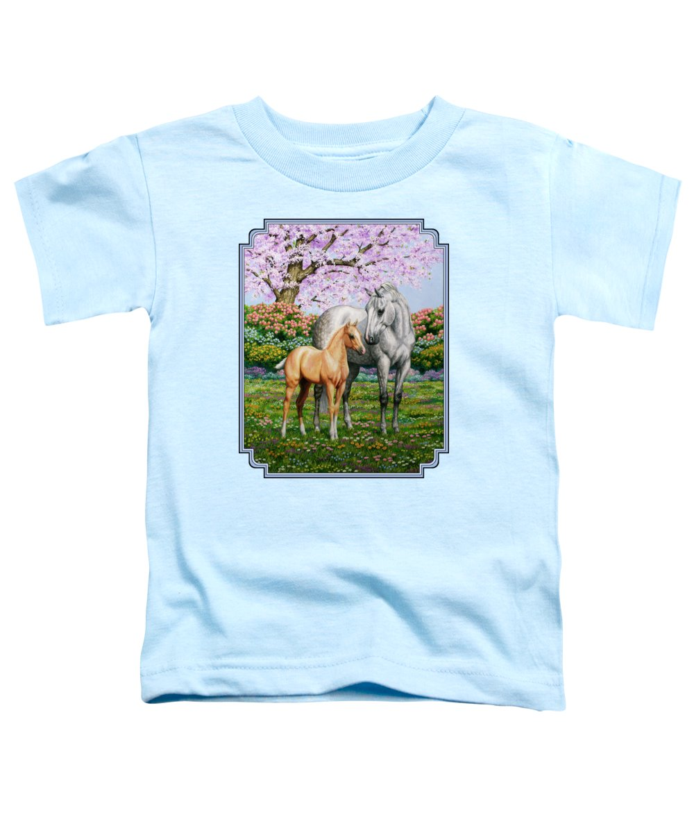 Horse Toddler T-Shirt featuring the painting Spring's Gift - Mare And Foal by Crista Forest