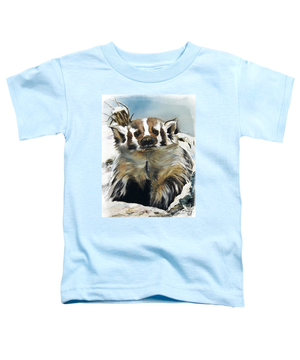 Southwest Art Toddler T-Shirt featuring the painting Badger - Guardian Of The South by J W Baker