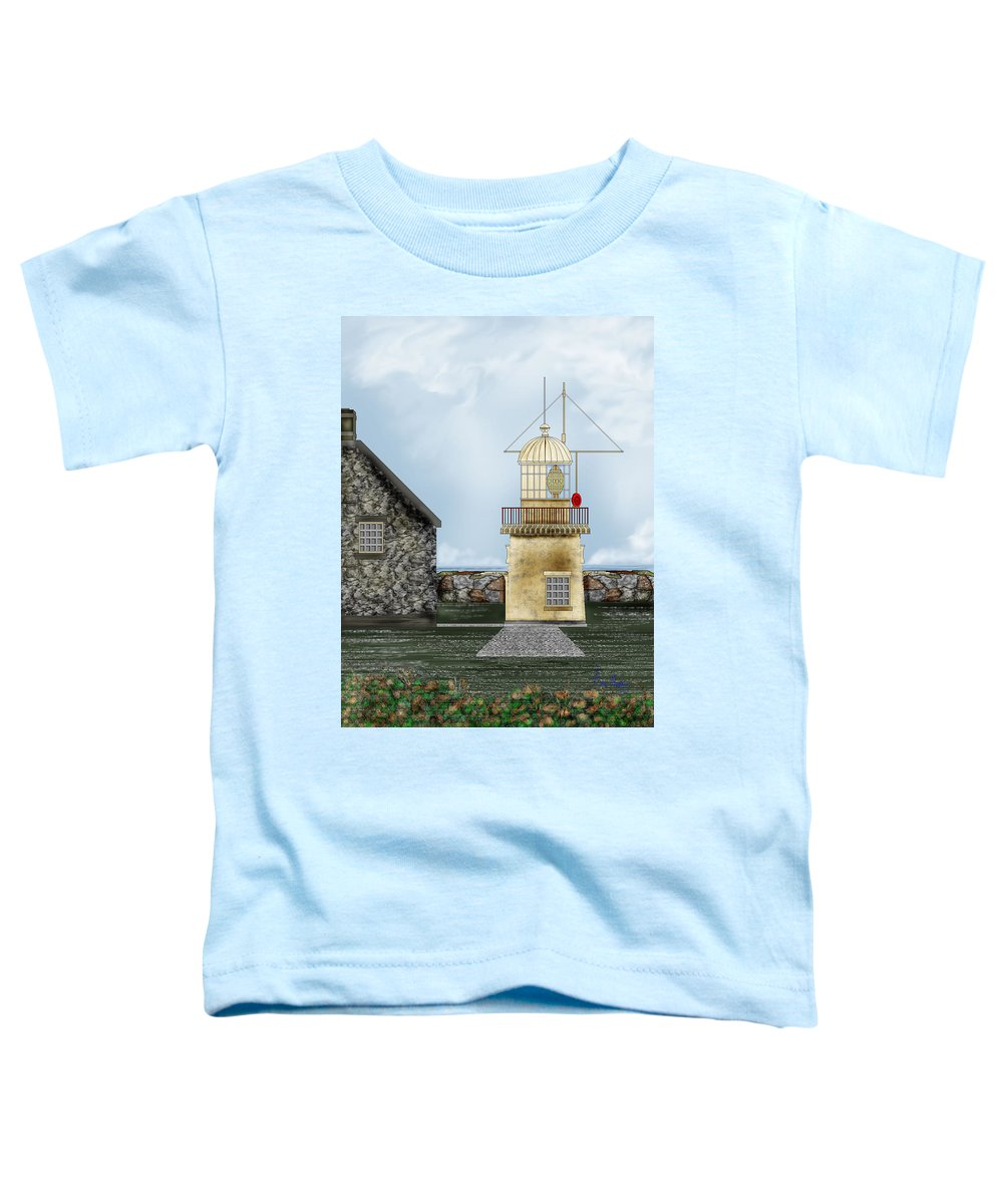 Lighthouse Toddler T-Shirt featuring the painting Ballinacourty Lighthouse At Waterford Ireland by Anne Norskog