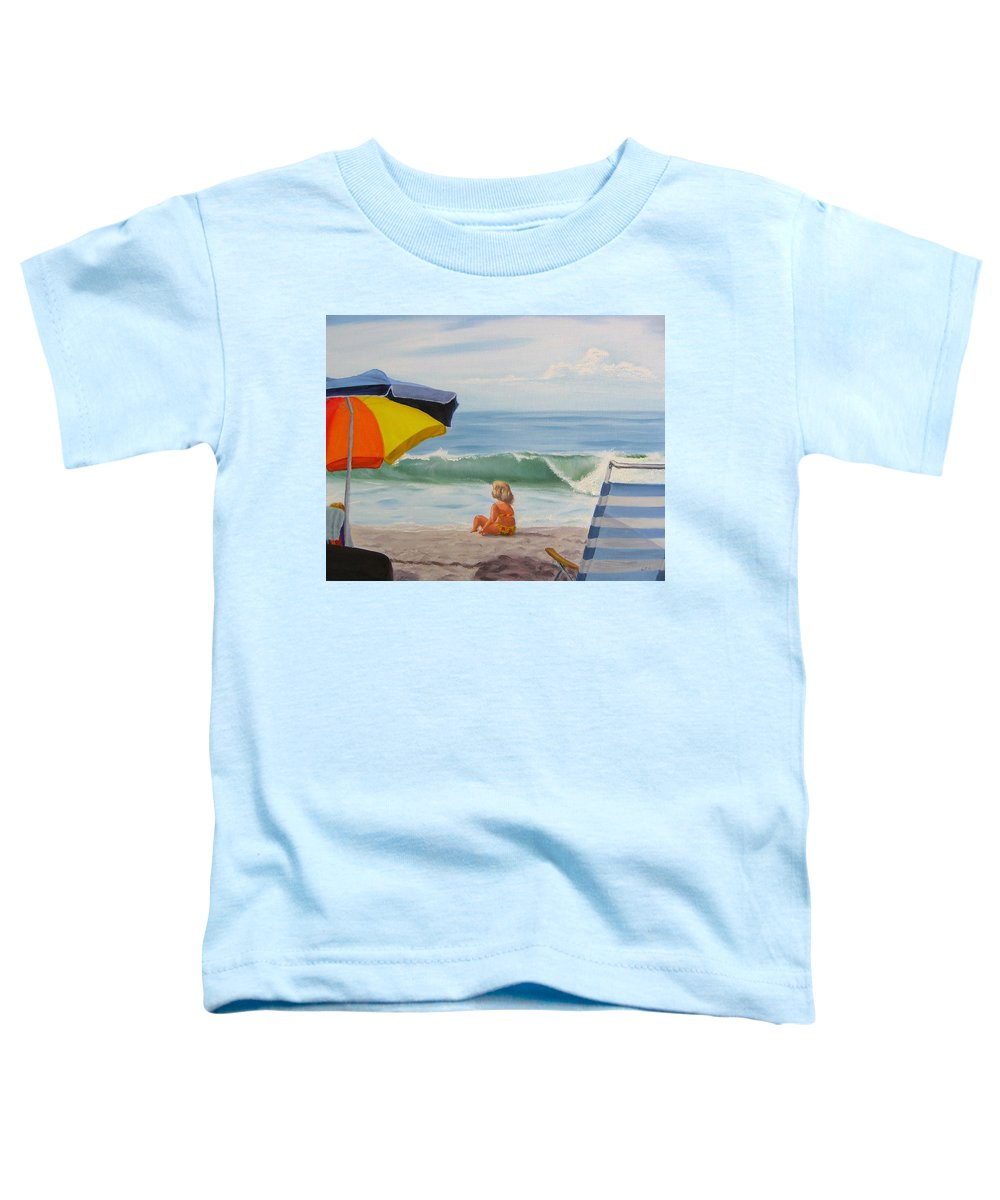 Seascape Toddler T-Shirt featuring the painting Beach Scene - Childhood by Lea Novak