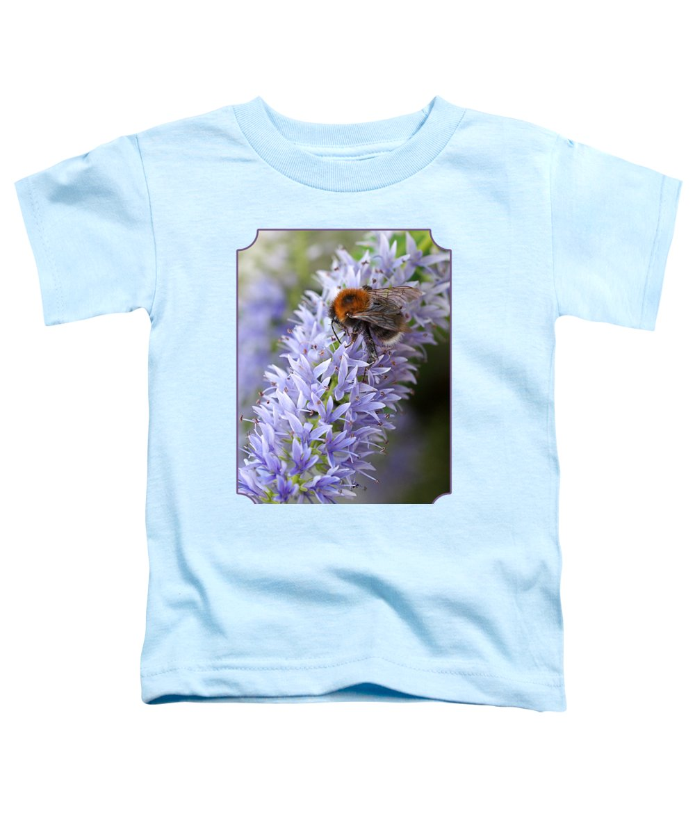 Bee On Purple Flower Toddler T-Shirt featuring the photograph Bee Happy 2 by Gill Billington