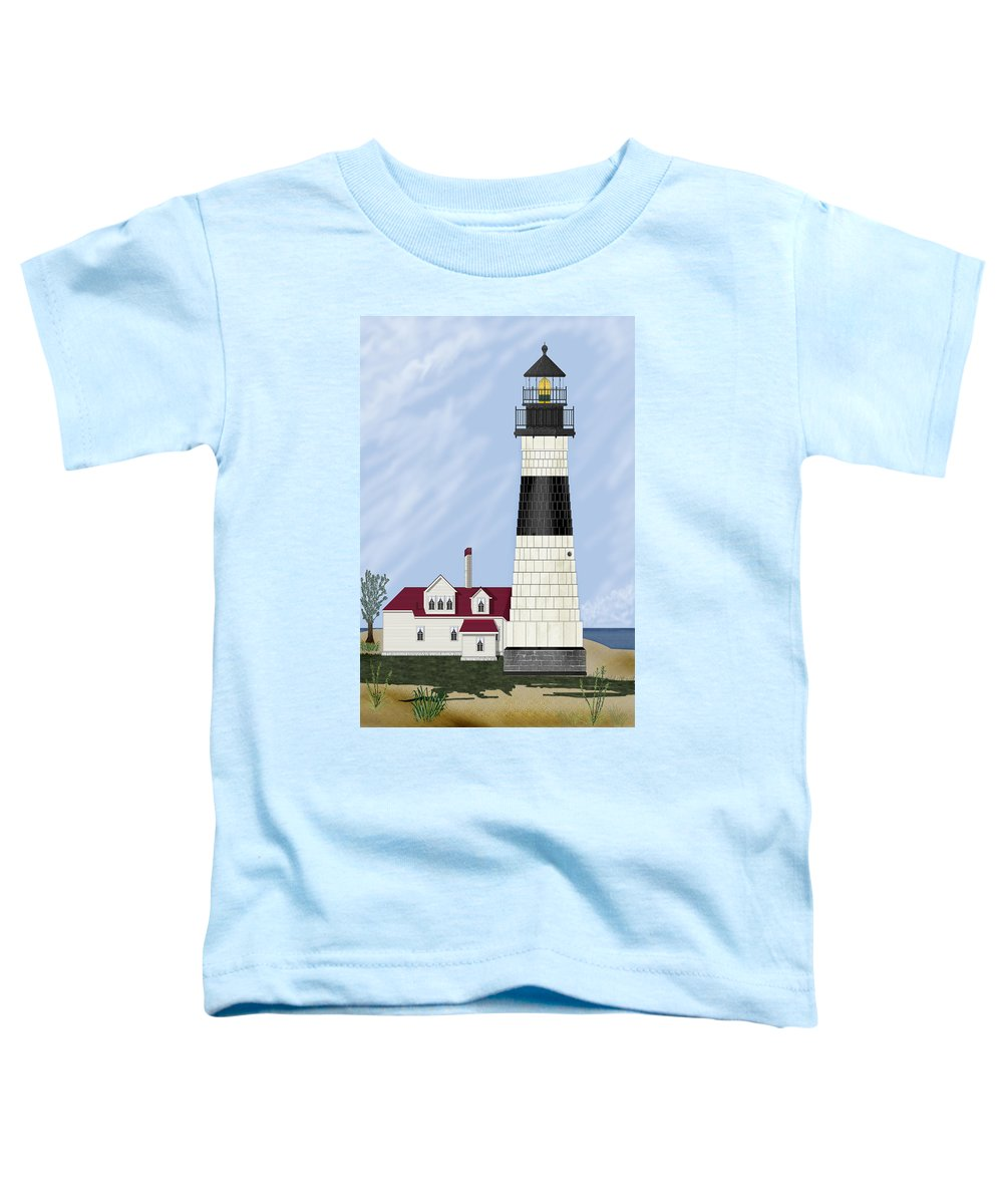 Big Sable Michigan Lighthouse Toddler T-Shirt featuring the painting Big Sable Michigan by Anne Norskog