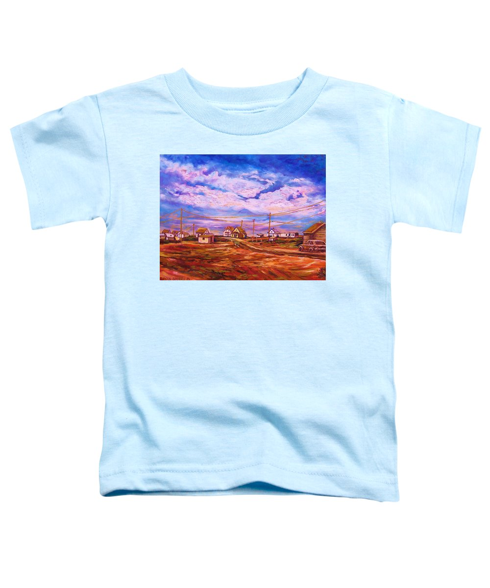 Cloudscapes Toddler T-Shirt featuring the painting Big Sky Red Earth by Carole Spandau