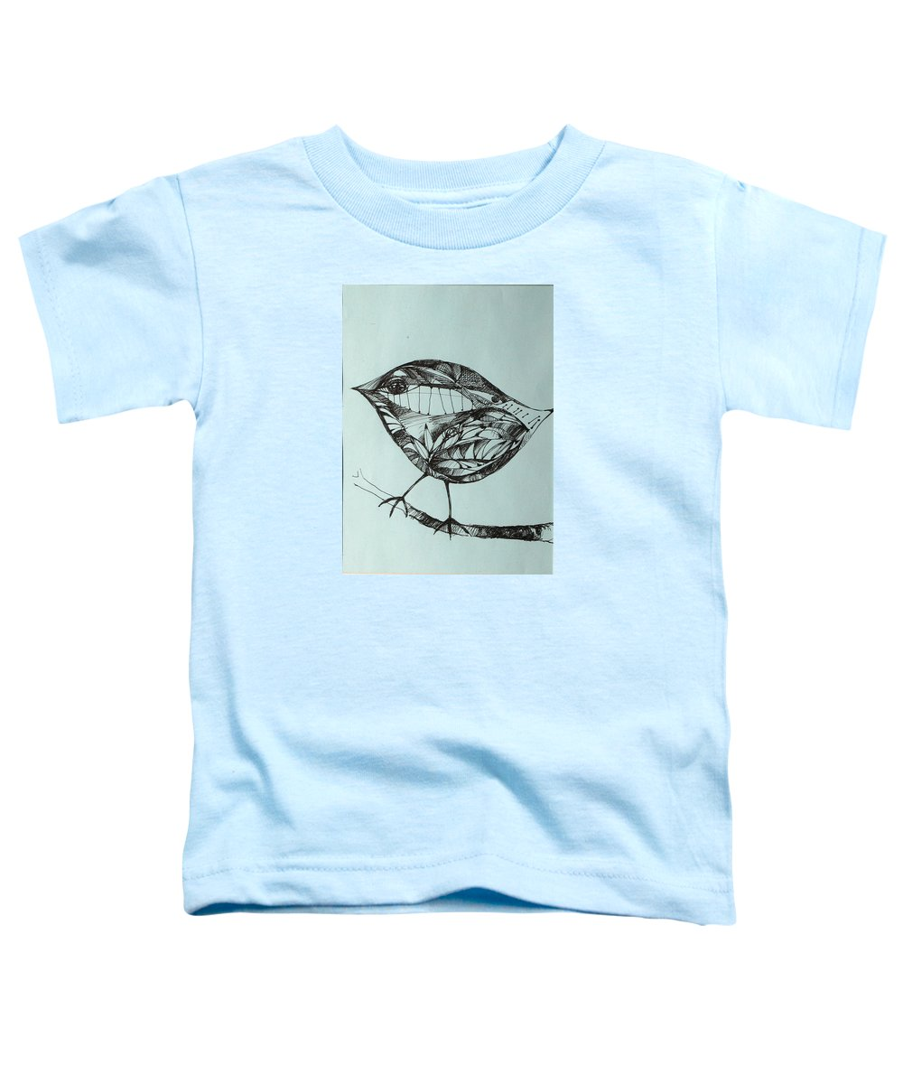 Artwork Toddler T-Shirt featuring the drawing Bird On A Brench by Cristina Rettegi