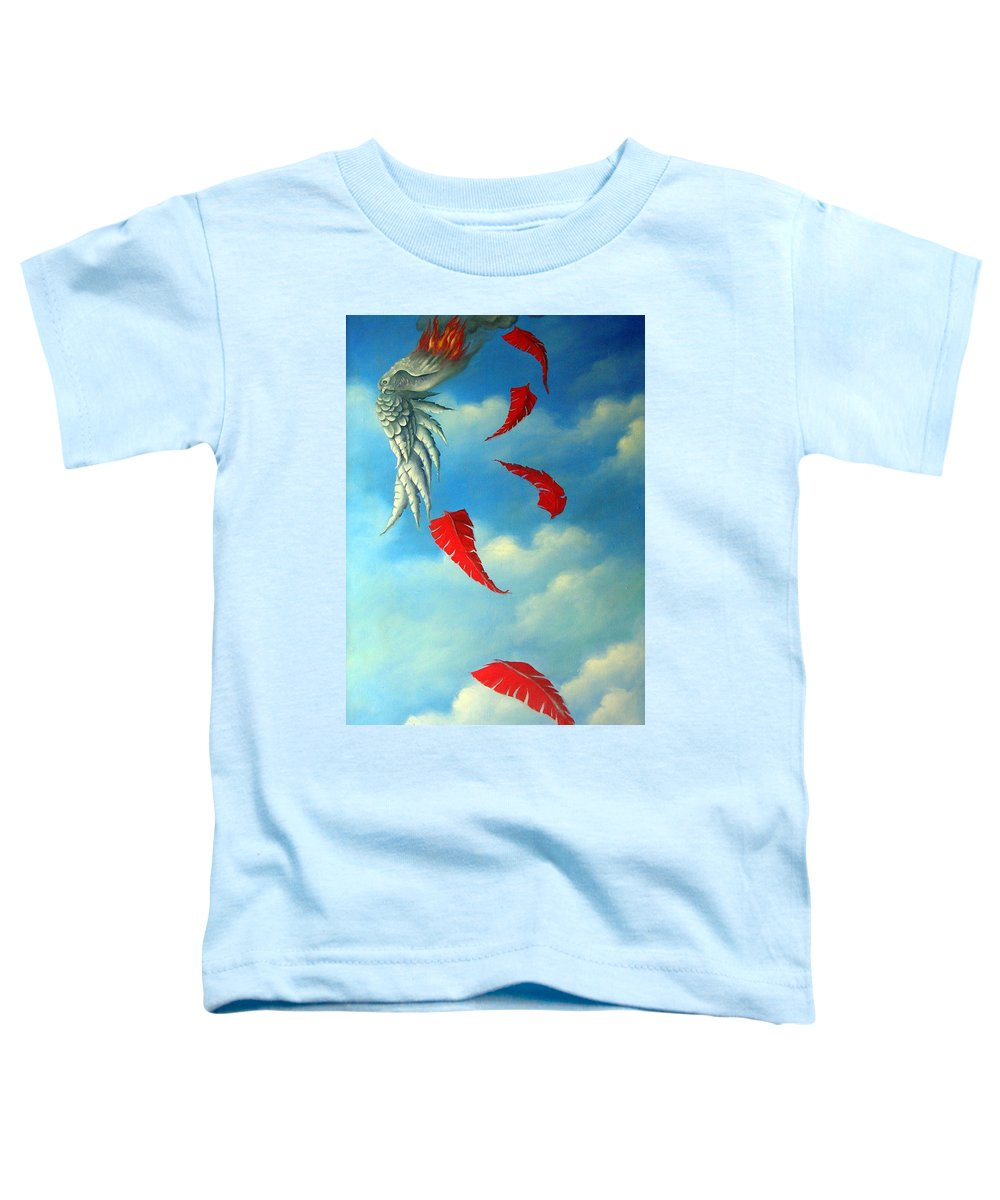 Surreal Toddler T-Shirt featuring the painting Bird On Fire by Valerie Vescovi