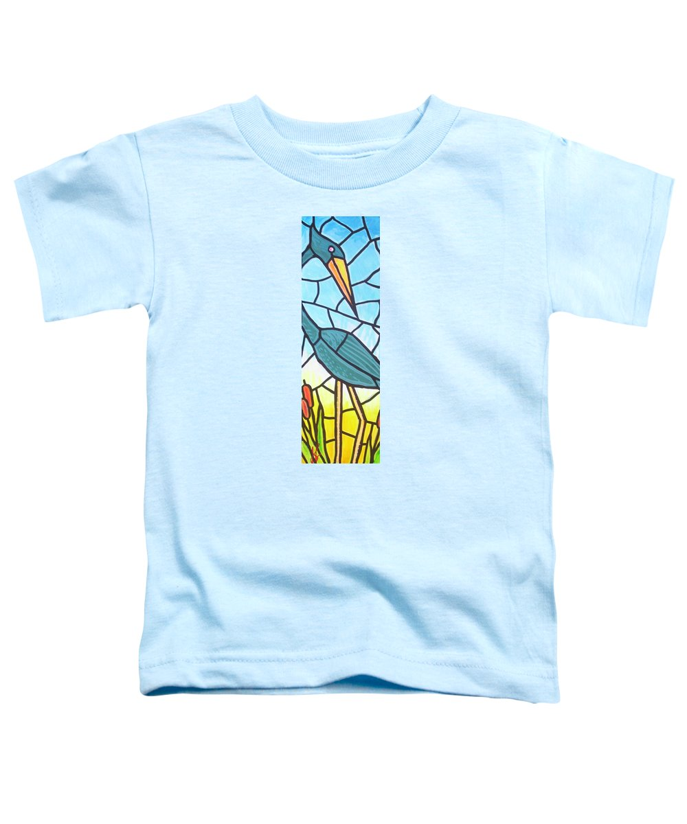 Heron Toddler T-Shirt featuring the painting Blue Heron by Jim Harris