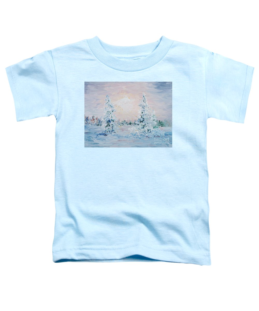 Landscape Toddler T-Shirt featuring the painting Blue Winter by Nadine Rippelmeyer
