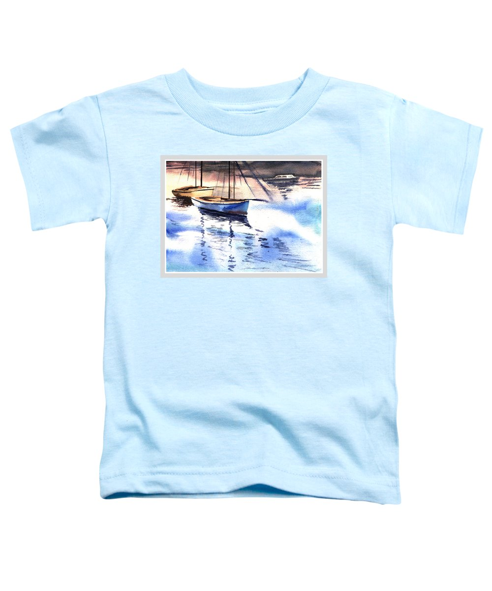 Watercolor Toddler T-Shirt featuring the painting Boat And The River by Anil Nene