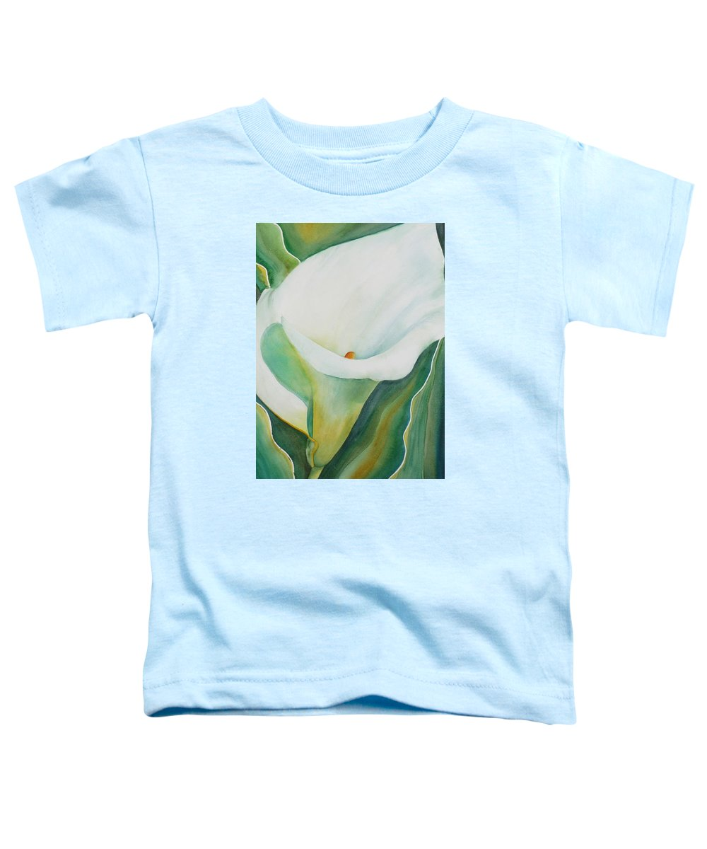 Flower Toddler T-Shirt featuring the painting Calla Lily by Ruth Kamenev