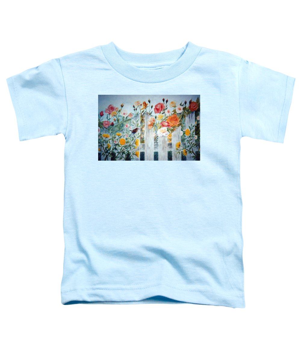 Roses; Flowers; Sc Wren Toddler T-Shirt featuring the painting Carolina Wren And Roses by Ben Kiger