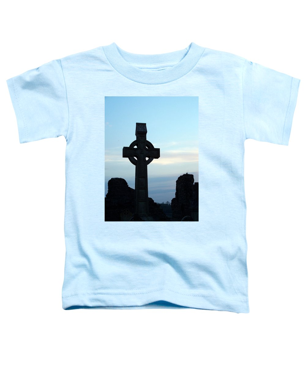 Irish Toddler T-Shirt featuring the photograph Celtic Cross At Sunset Donegal Ireland by Teresa Mucha