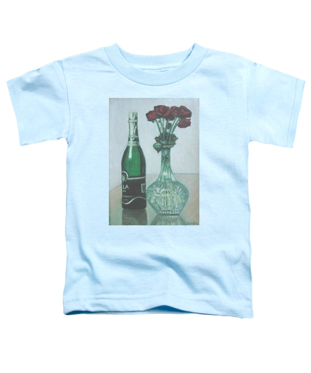 Champagne Toddler T-Shirt featuring the painting Champagne And Roses by Usha Shantharam