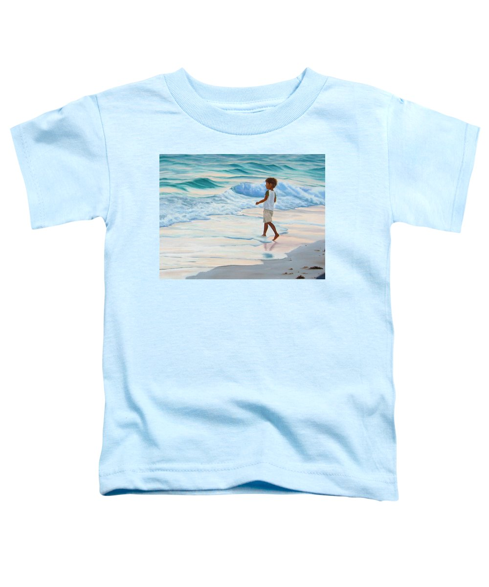 Child Toddler T-Shirt featuring the painting Chasing The Waves by Lea Novak