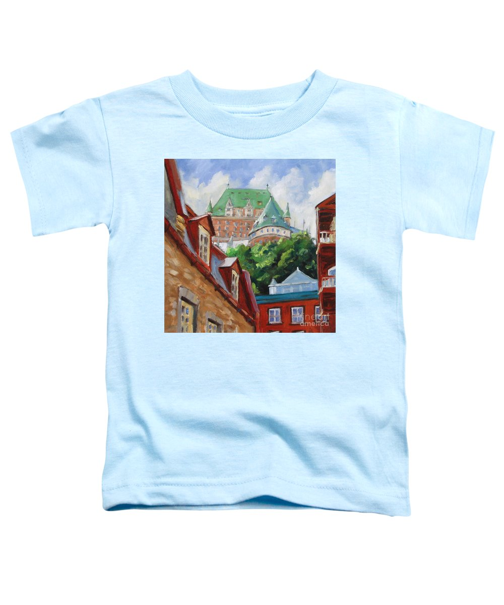 Chateau Frontenac Toddler T-Shirt featuring the painting Chateau Frontenac by Richard T Pranke