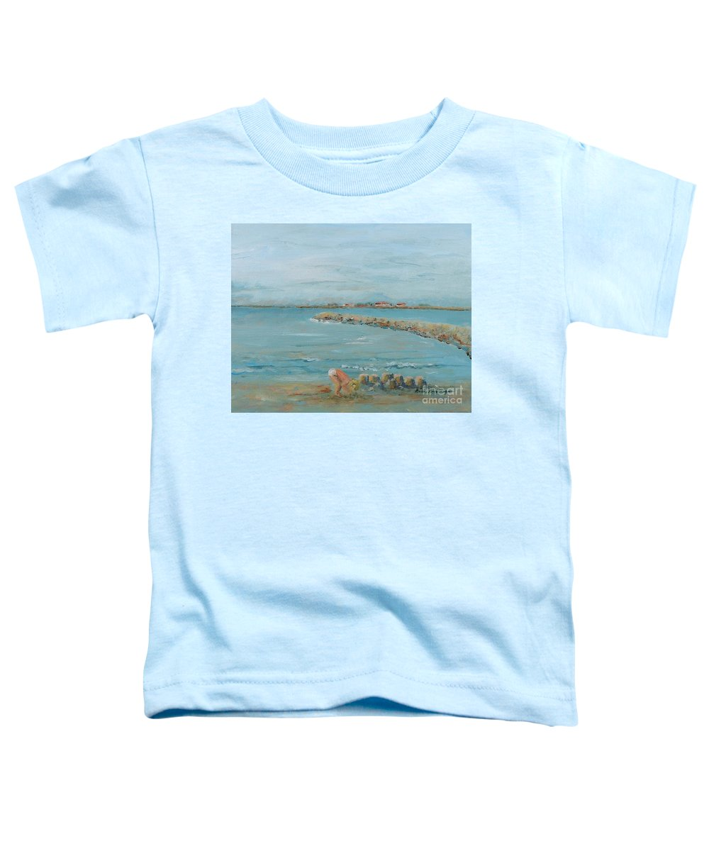 Beach Toddler T-Shirt featuring the painting Child Playing At Provence Beach by Nadine Rippelmeyer