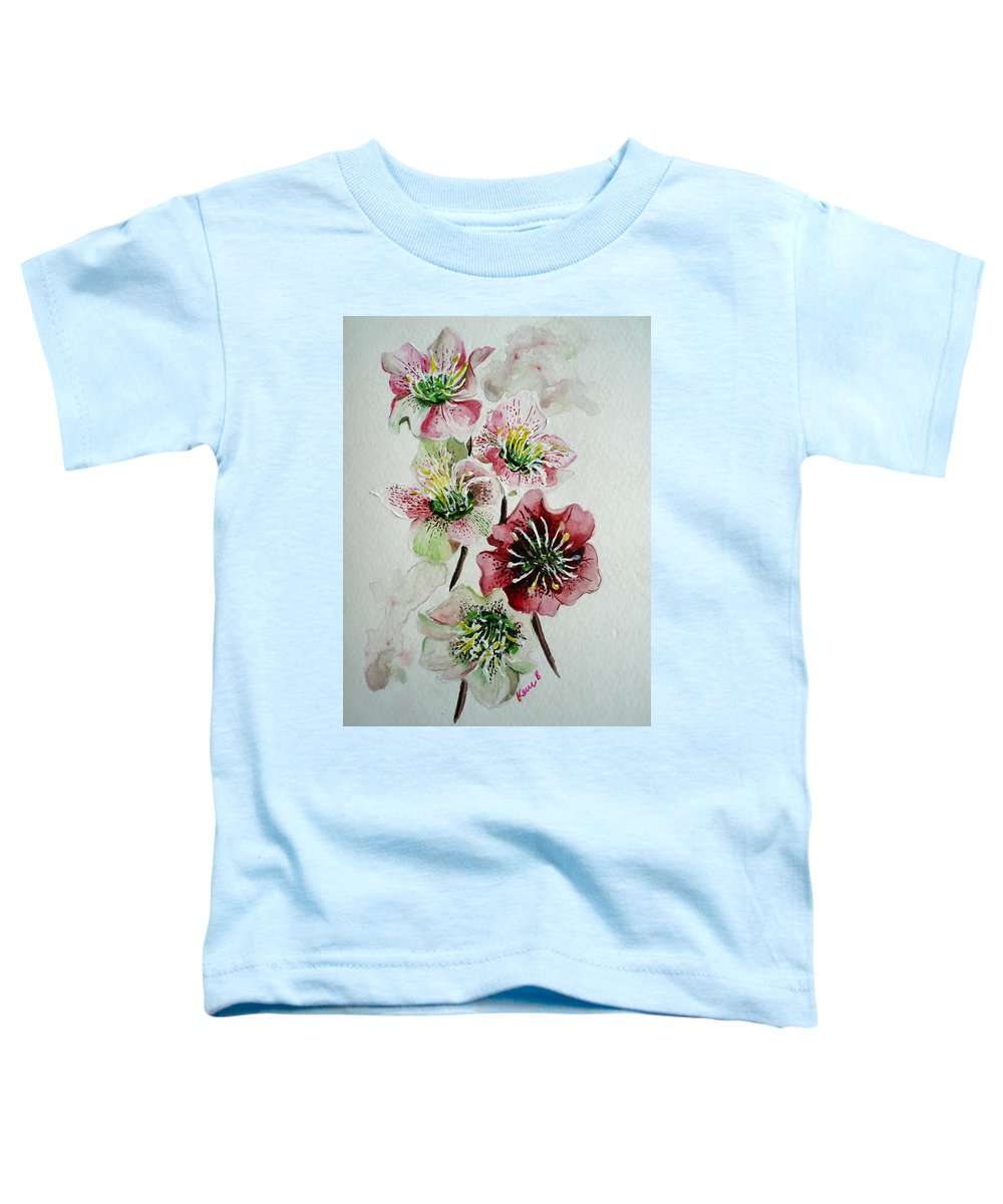 Floral Flower Pink Toddler T-Shirt featuring the painting Christmas Rose by Karin Dawn Kelshall- Best