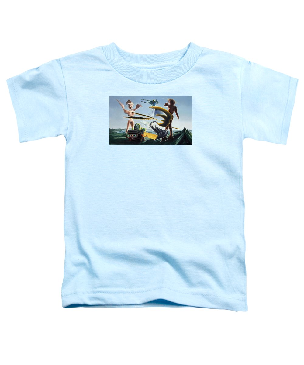 Landscape Toddler T-Shirt featuring the painting Civilization Found Intact by Dave Martsolf