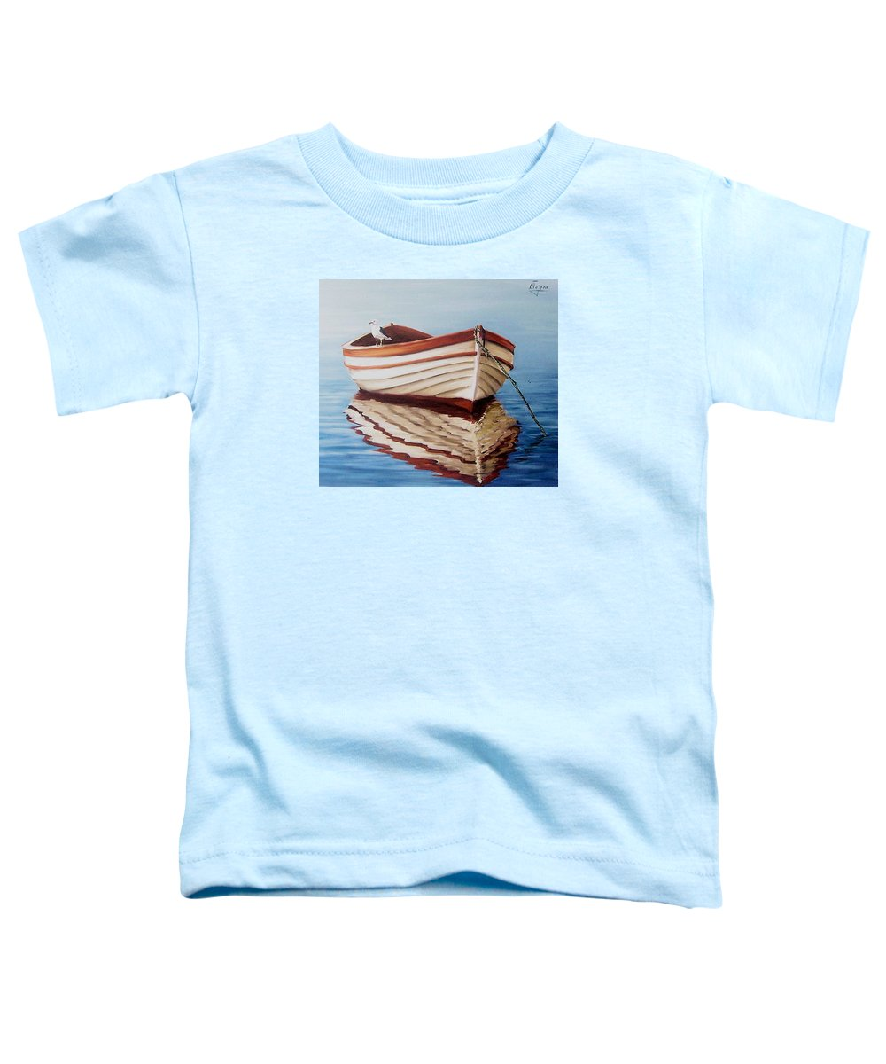 Sea Seascape Boat Reflections Water Ocean Seagull Bird Toddler T-Shirt featuring the painting Contemplative by Natalia Tejera