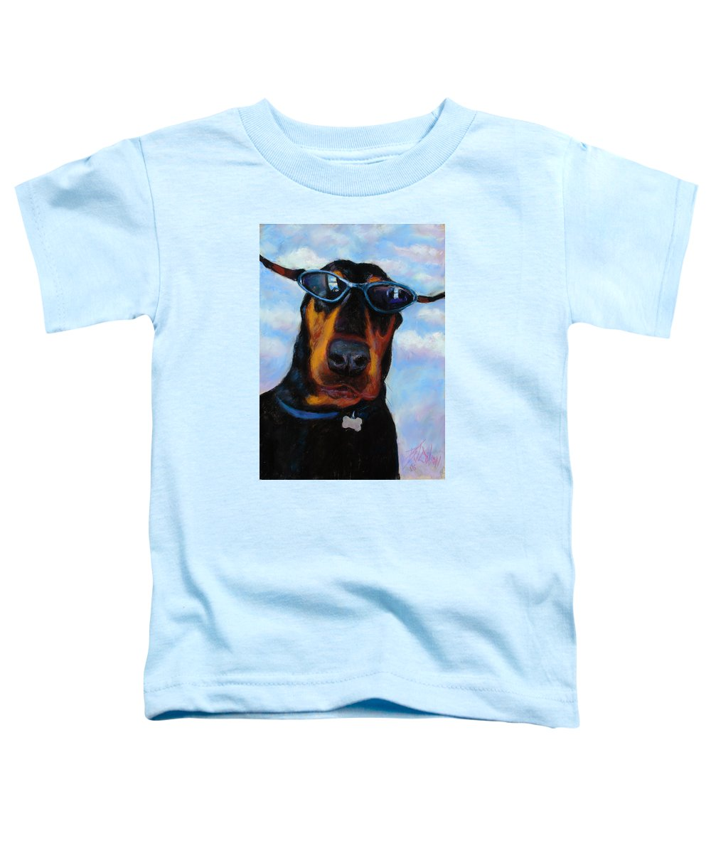 Doberman Pincher Art Toddler T-Shirt featuring the painting Cool Dob by Billie Colson