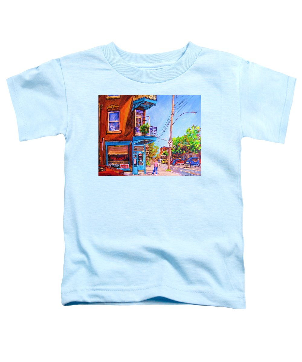 Wilenskys Corner Fairmount And Clark Toddler T-Shirt featuring the painting Corner Deli Lunch Counter by Carole Spandau