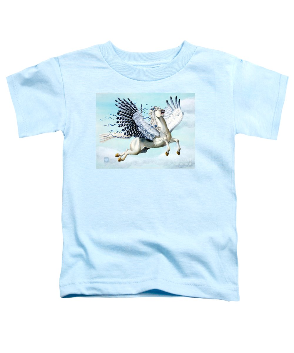 Artwork Toddler T-Shirt featuring the painting Cory Pegasus by Melissa A Benson