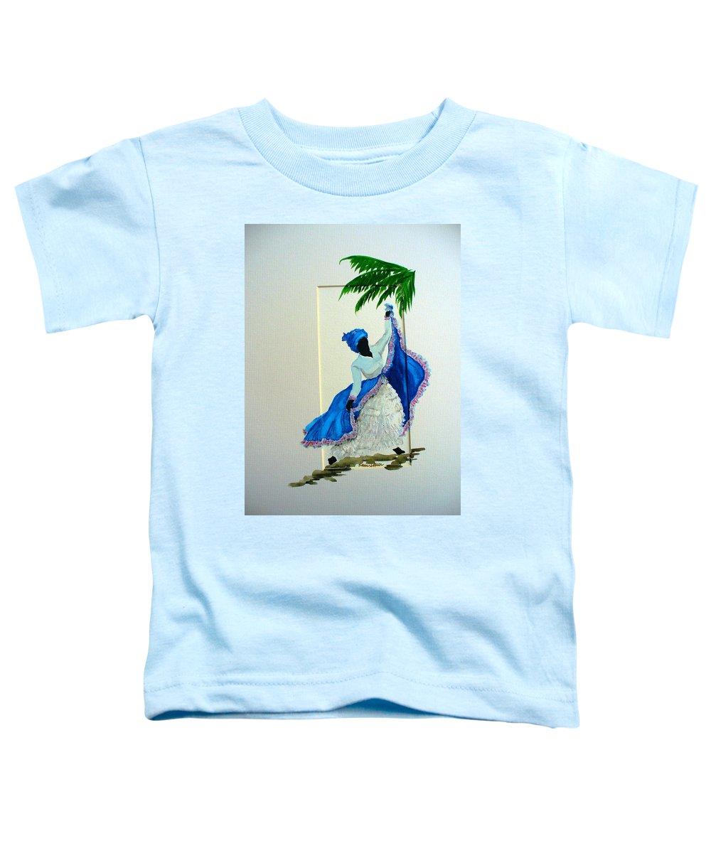Folk Dance Caribbean Tropical Toddler T-Shirt featuring the painting Dance De Pique by Karin Dawn Kelshall- Best