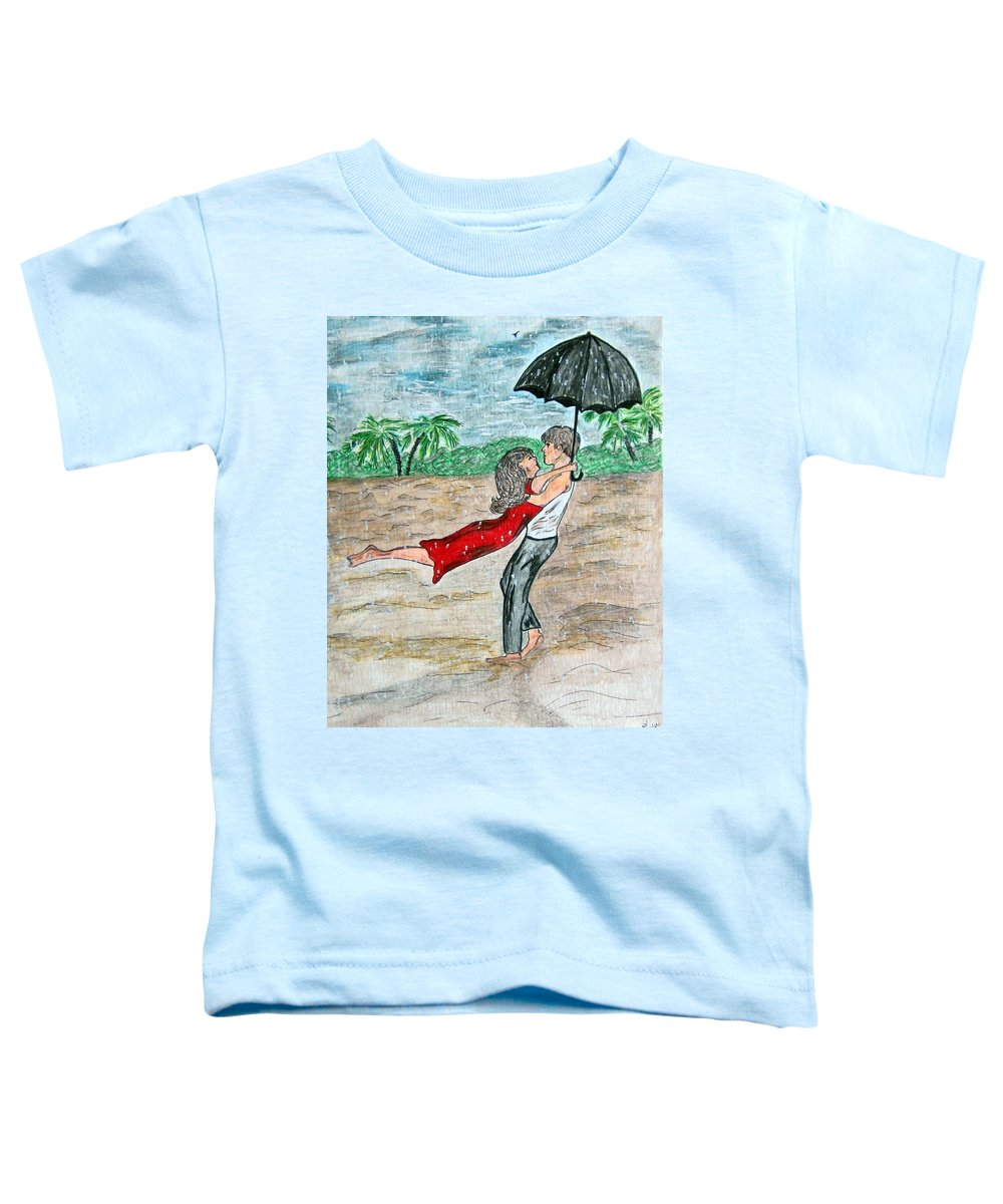 Dancing Toddler T-Shirt featuring the painting Dancing In The Rain On The Beach by Kathy Marrs Chandler