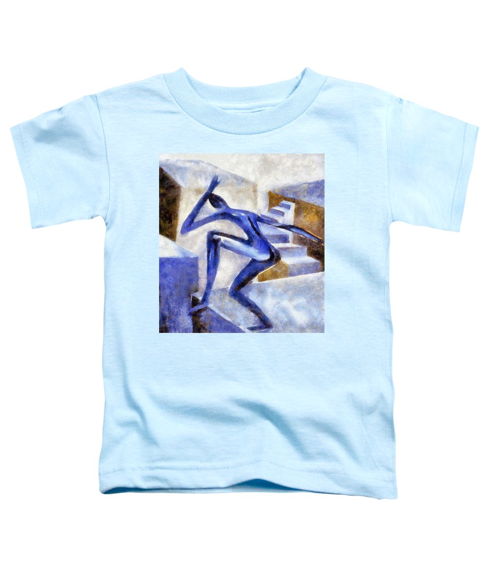 Conceptual Toddler T-Shirt featuring the painting Dancing Off The Edge Of The World by Michelle Calkins