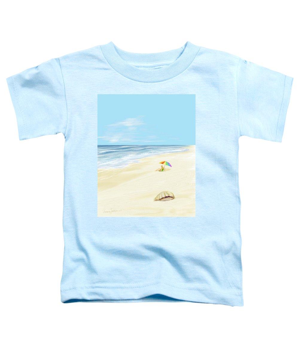 Beach Summer Sun Sand Waves Shells Toddler T-Shirt featuring the digital art Day At The Beach by Veronica Jackson