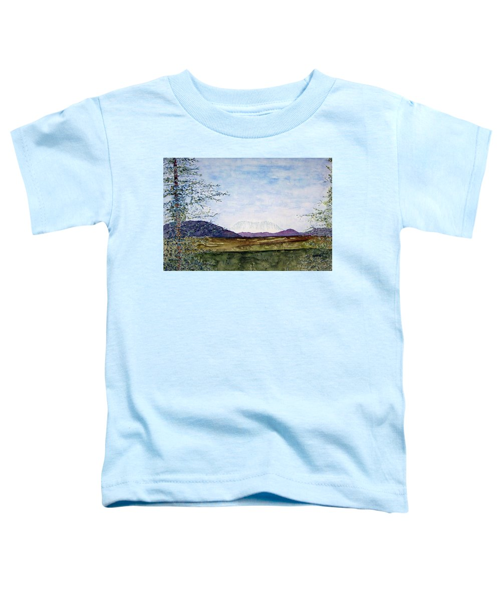 Alaska Art Toddler T-Shirt featuring the painting Denali In July by Larry Wright