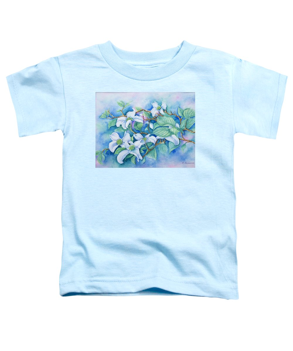 Floral Toddler T-Shirt featuring the painting Dogwood by Conni Reinecke
