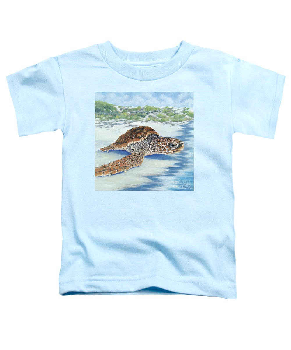 Sea Turtle Toddler T-Shirt featuring the painting Dreaming Of Islands by Danielle Perry